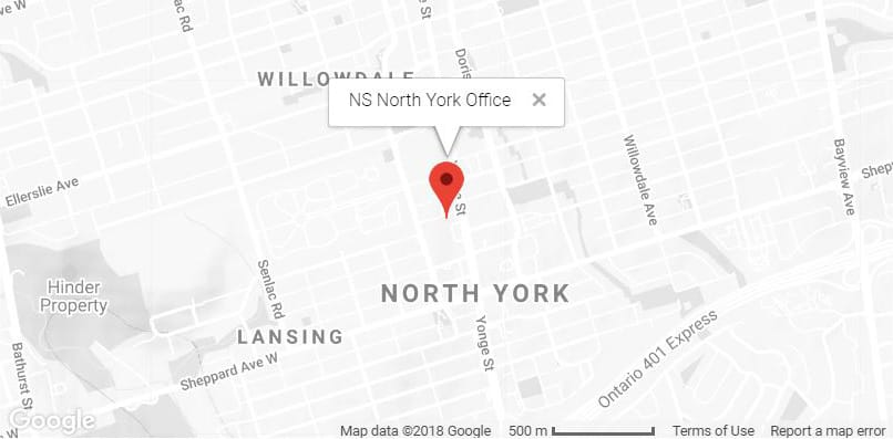 Map to Nathens, Siegel LLP Toronto family law office